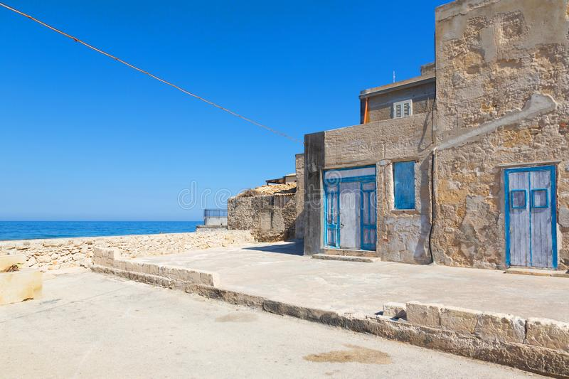 MARZAMEMI. Sicily, Italy - The fishing village of  is in the deep south-east of Sicily, one of prettiest seaside villages in Italy stock photography