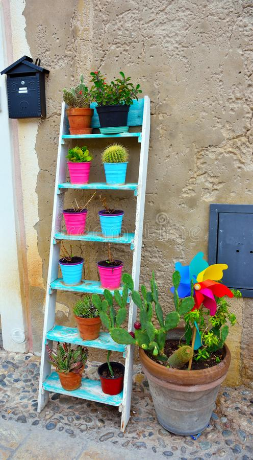 Marzamemi village siracusa. Colorful vases in marzamemi village in the province of Syracuse Sicily royalty free stock images