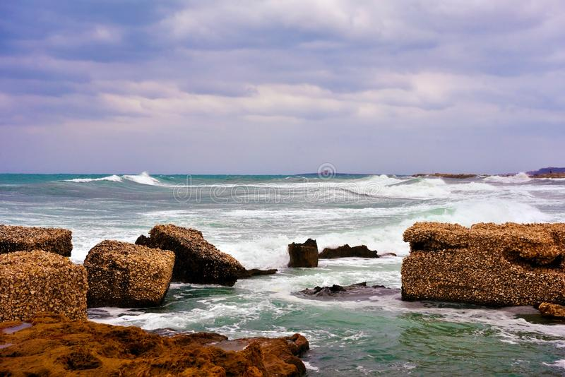 Marzamemi village siracusa. The rough sea at marzamemi Sicily Italy royalty free stock images