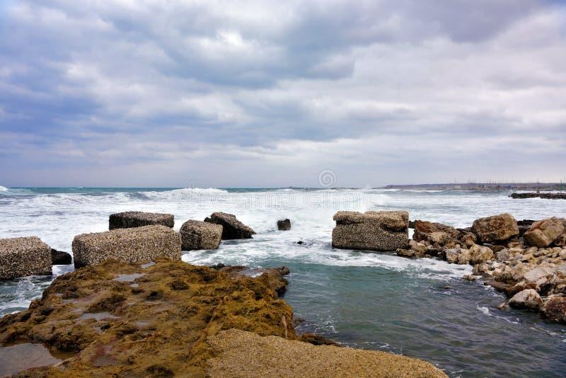 Marzamemi village siracusa. The rough sea at marzamemi Sicily Italy royalty free stock photography