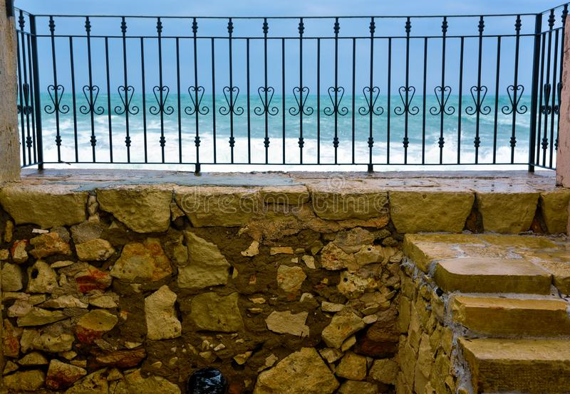 Marzamemi village siracusa. The rough sea at marzamemi Sicily Italy stock images