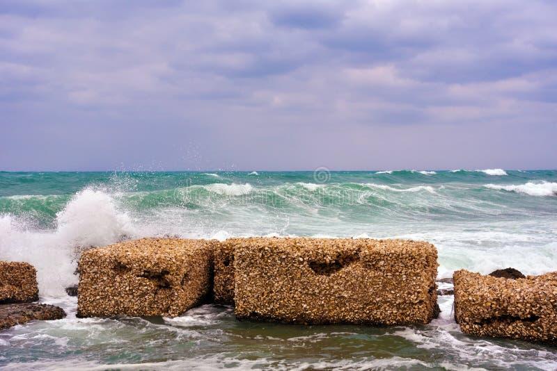 Marzamemi village siracusa. The rough sea at marzamemi Sicily Italy stock photos