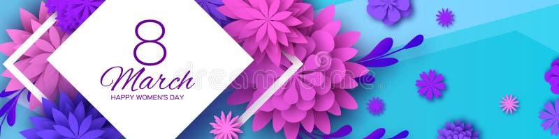 8 Marzec Kobieta dnia powitań karta Lodowisko fiołka papieru kwiatu Rżnięty sztandar Origami Kwiecisty bukiet Rhombus rama tekst royalty ilustracja
