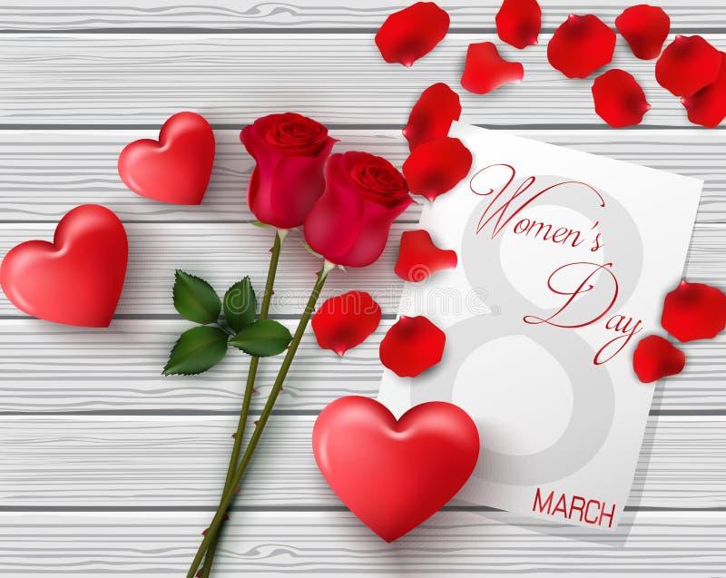 8 Marzec Międzynarodowy szczęśliwy kobiety ` s dnia kartka z pozdrowieniami Kwiat róże czerwone serce Białego papieru przestrzeń  ilustracji