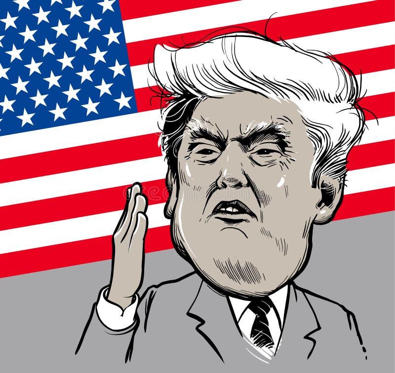 Marzec 22, 2018: Portret Donald atut również zwrócić corel ilustracji wektora EPS10 2009 amerykańskiego auto odwracalnego Detroit ilustracji