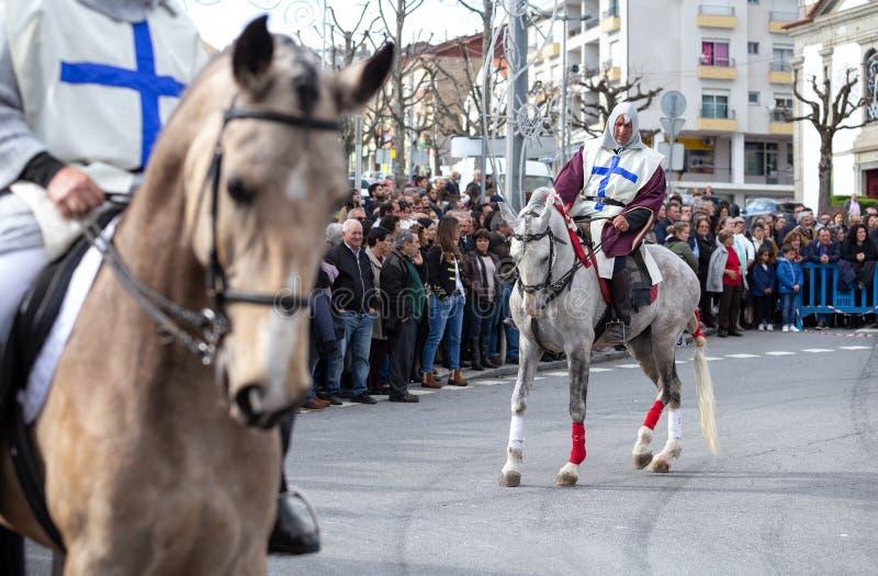 17 Marzec 2019 - Portugalska historii parada podczas ojca dnia Sao Jose świętowania w Povoa De Lanhoso, Portugalia fotografia stock