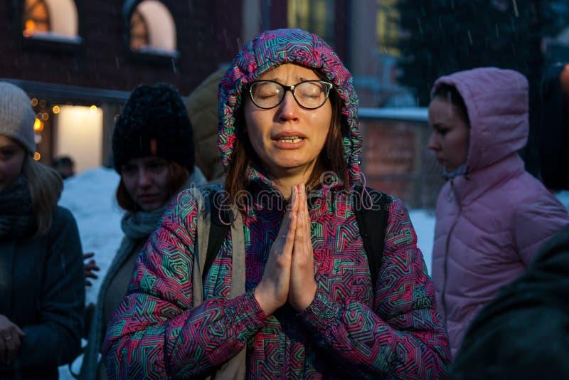 27 Marzec 2018, ROSJA, VORONEZH: Akcja upamiętniać ofiary ogień w centrum handlowym w Kemerovo fotografia royalty free