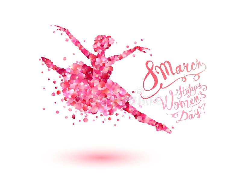 8 Marzec Szczęśliwy kobiety ` s dzień! Dancingowa kobieta różani płatki royalty ilustracja