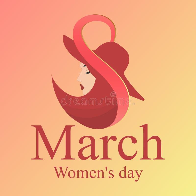 8 Marzec Szczęśliwy kobiety ` s dzień! Silhouett royalty ilustracja