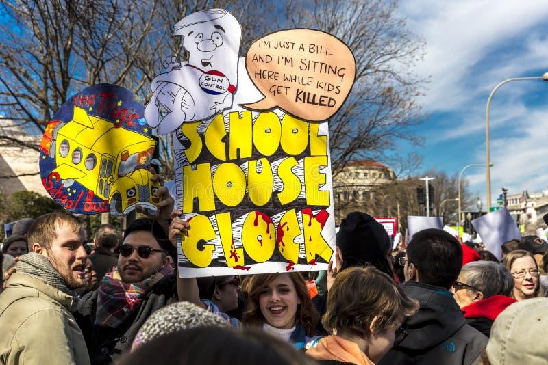 MARZEC 24, 2018: Waszyngton, d C setki tysiące protestują przeciw NRA na Pennsylwania alei Dc, 2nd obraz stock