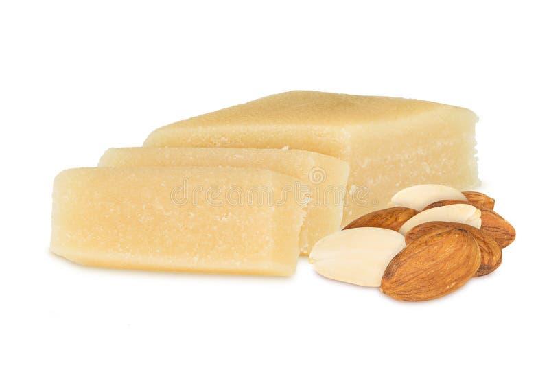 Marzipan with almonds stock photos