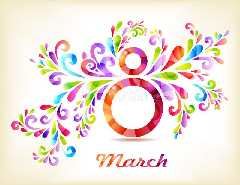 8 marzo carta del giorno delle donne illustrazione vettoriale