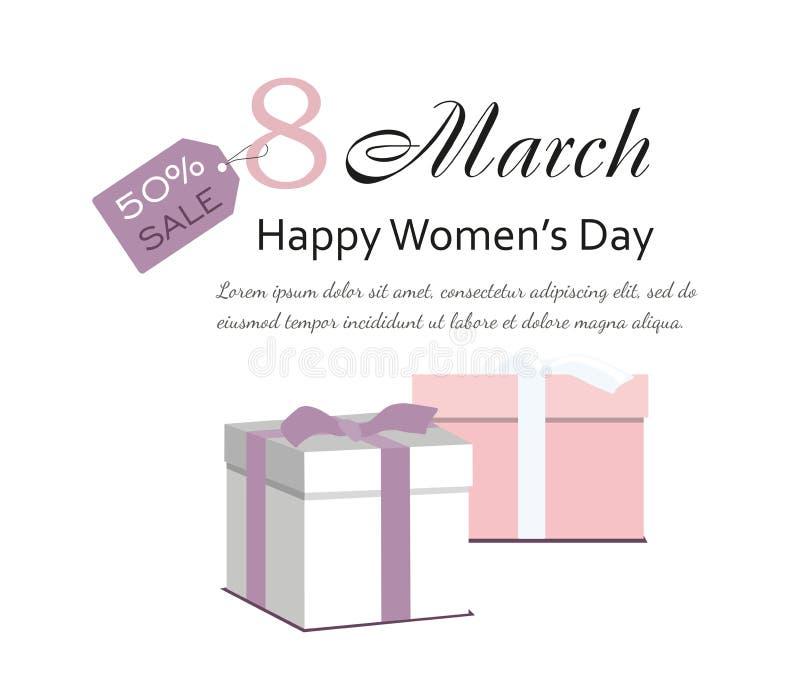 8 marzo carta di giorno del ` s delle donne con i regali royalty illustrazione gratis