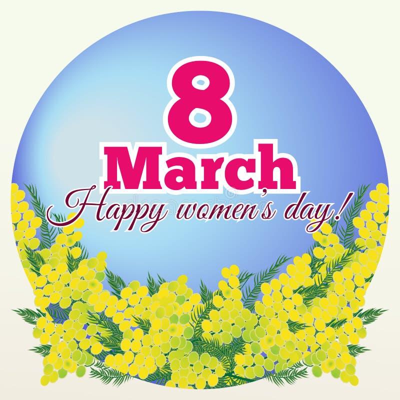8 marzo carta di giorno delle donne con i fiori della mimosa illustrazione vettoriale