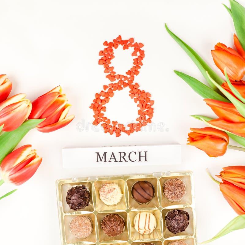 8 marzo cartolina d'auguri di Giornata internazionale della donna immagini stock libere da diritti