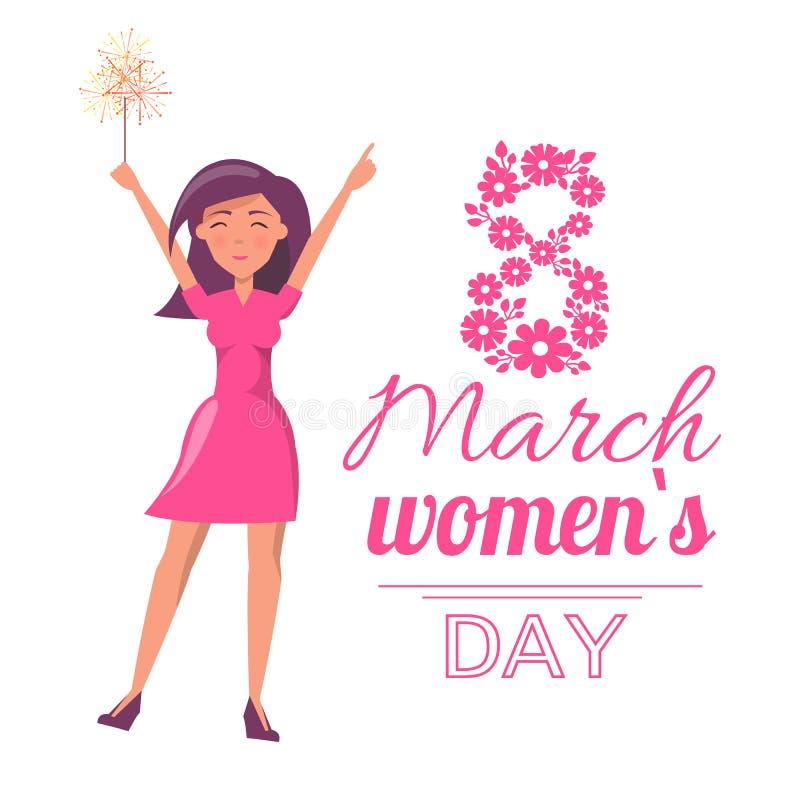 8 marzo cartolina d'auguri di Giornata internazionale della donna illustrazione di stock