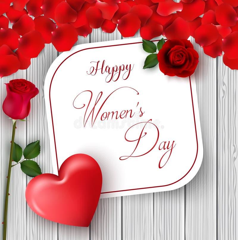 8 marzo Cartolina d'auguri felice internazionale di giorno del ` s delle donne Rose del fiore Cuore rosso Spazio del Libro Bianco illustrazione di stock