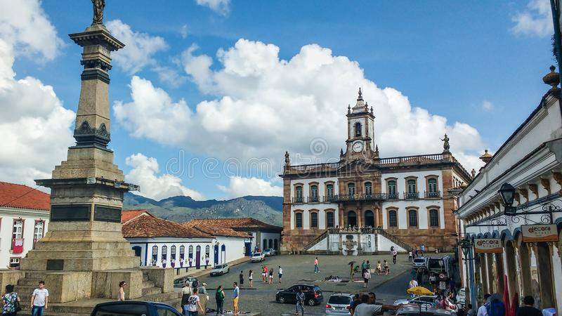 25 marzo 2016, città storica del preto di Ouro, Minas Gerais, Brasile, quadrato di Tiradentes immagine stock