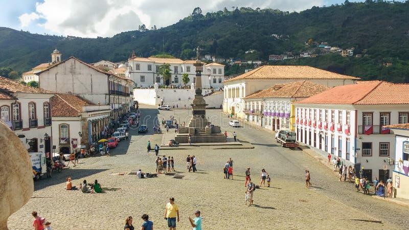 25 marzo 2016, città storica del preto di Ouro, Minas Gerais, Brasile, quadrato di Tiradentes fotografie stock