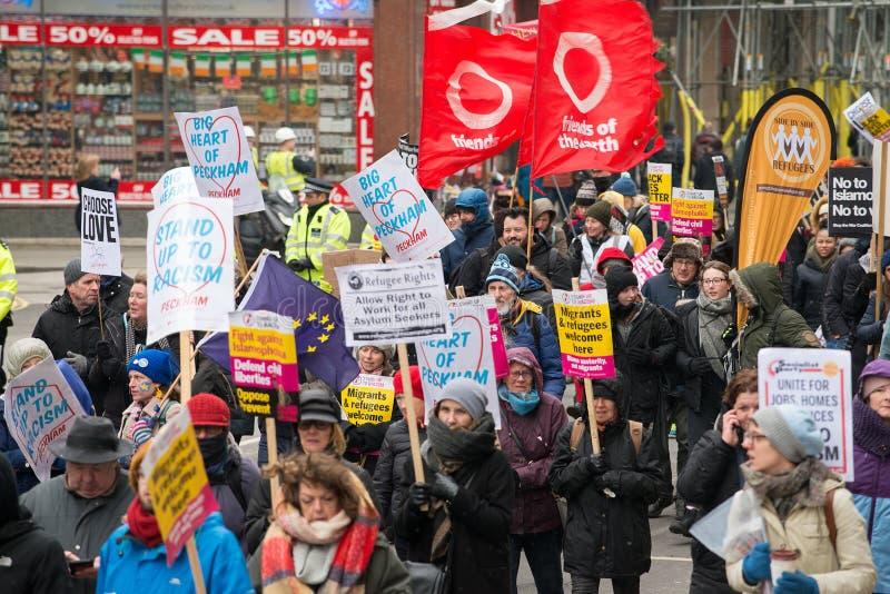 Marzo contra la demostración nacional del racismo - Londres - Reino Unido fotografía de archivo libre de regalías