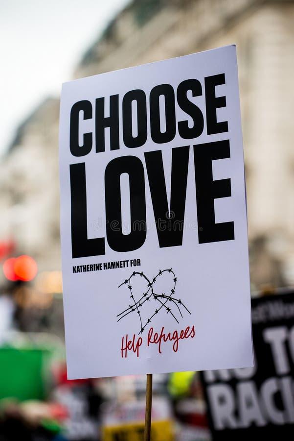 Marzo contro la dimostrazione nazionale di razzismo - Londra - Regno Unito fotografie stock libere da diritti