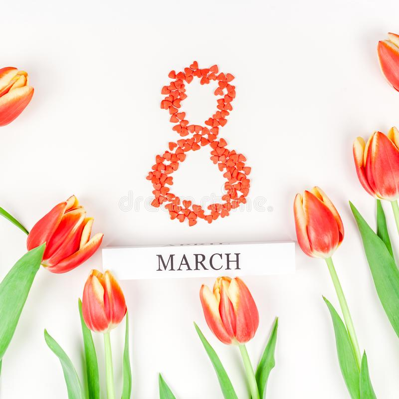 """8 marzo donne internazionali \ """"cartolina d'auguri di giorno di s fotografie stock libere da diritti"""