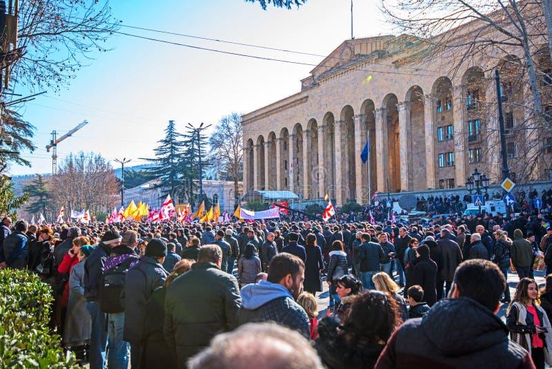 Marzo en Tbilisi Georgia fotos de archivo libres de regalías