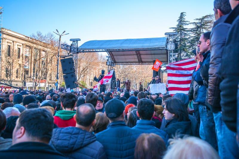 Marzo en Tbilisi Georgia foto de archivo libre de regalías