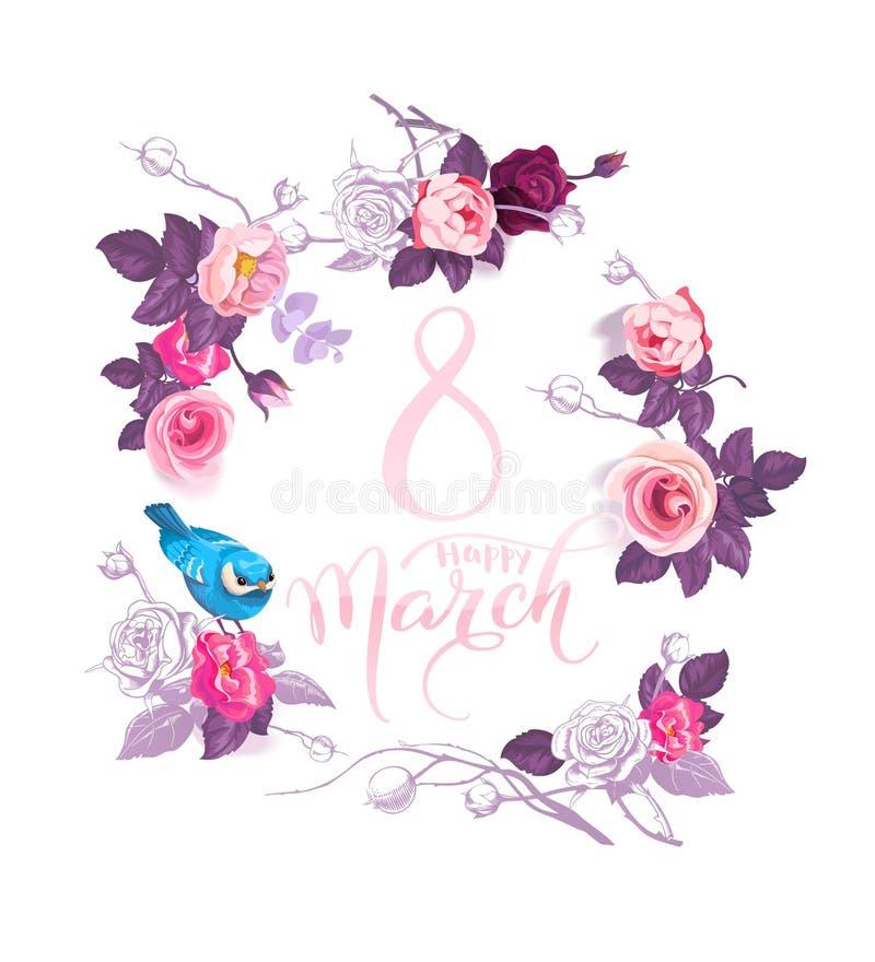 8 marzo felice La corona rosa dell'interno dell'iscrizione della mano dei fiori colorati di semi e dell'uccello blu che si siedon royalty illustrazione gratis