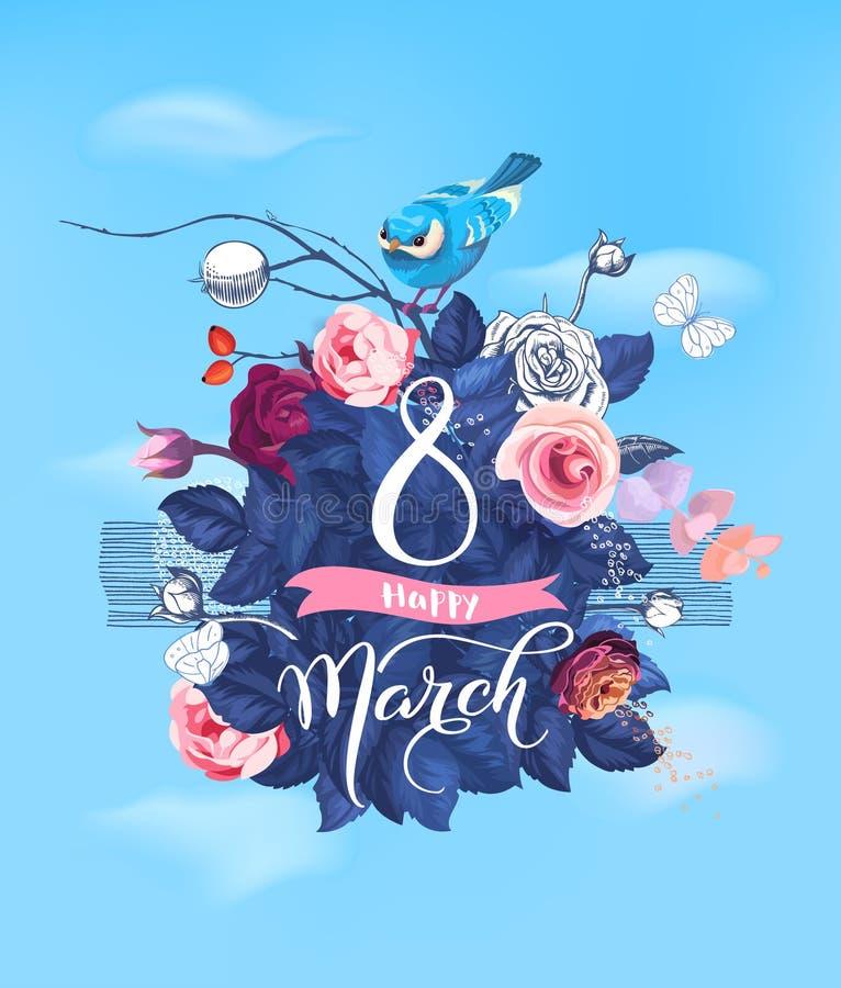 8 marzo felice Passi l'iscrizione sul cespuglio di rose di fioritura e sul piccolo uccello che si siedono sulla cima contro il ci royalty illustrazione gratis