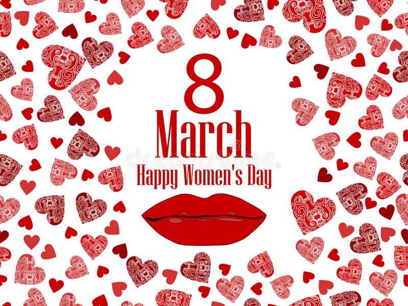 8 marzo giorno Giorno internazionale del ` s delle donne Labbra e cuore femminili Vettore illustrazione vettoriale