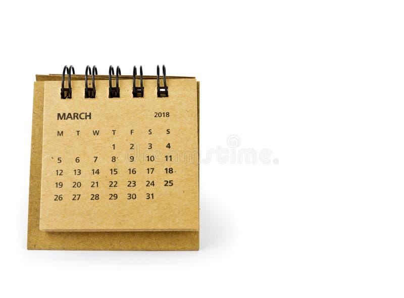 marzo Hoja del calendario en blanco fotos de archivo