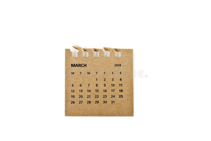 marzo Hoja del calendario en blanco imagen de archivo libre de regalías