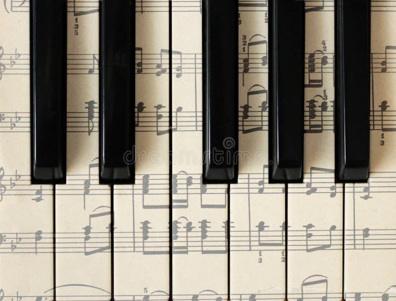 28 marzo 2018 Iževsk, Russia Note musicali, piano Fondo, vista superiore fotografie stock