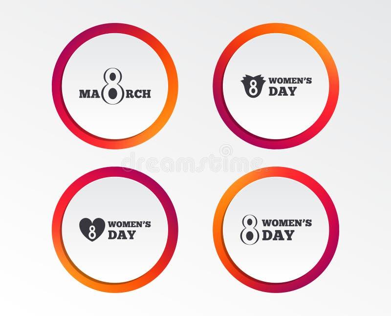 8 marzo icone di giorno del ` s delle donne Fiorisce i simboli illustrazione di stock