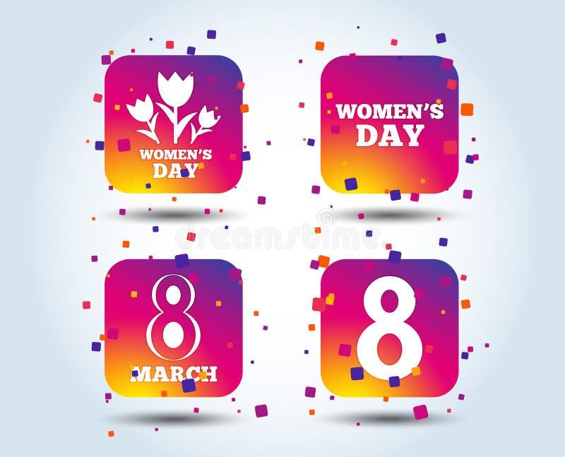 8 marzo icone di giorno del ` s delle donne Fiorisce i simboli royalty illustrazione gratis