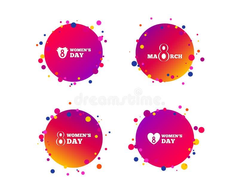 8 marzo icone di giorno del ` s delle donne Fiorisce i simboli Vettore illustrazione di stock