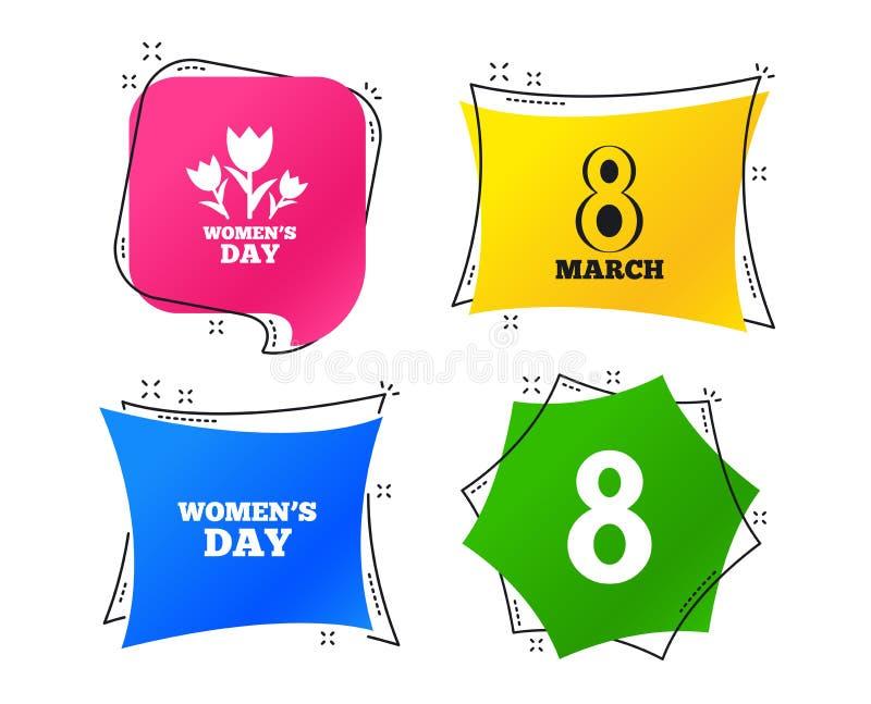8 marzo icone di giorno del ` s delle donne Fiorisce i simboli Vettore royalty illustrazione gratis