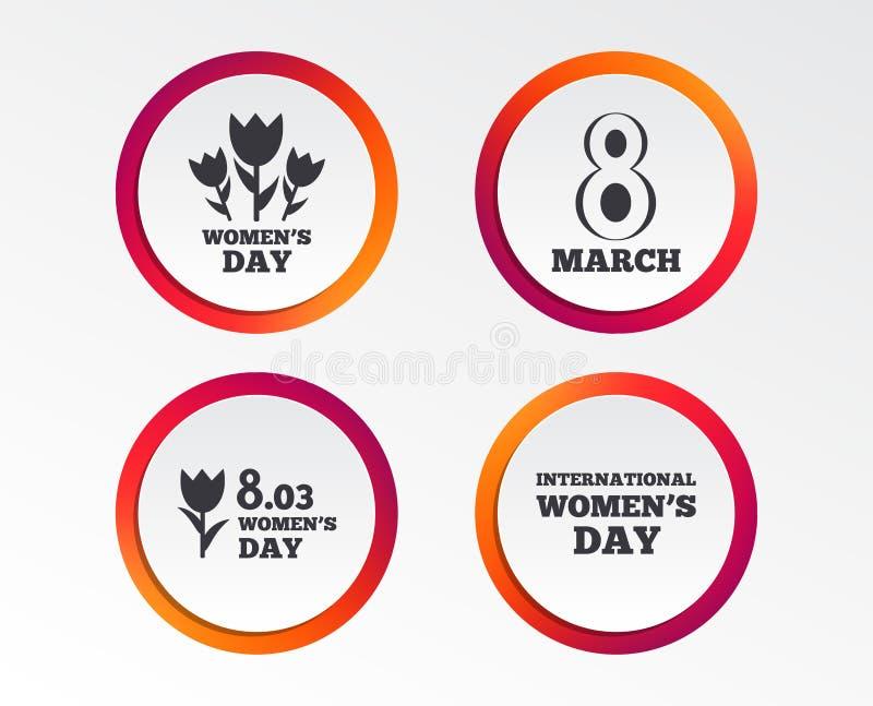 8 marzo icone di giorno del ` s delle donne Mazzo dei fiori illustrazione vettoriale