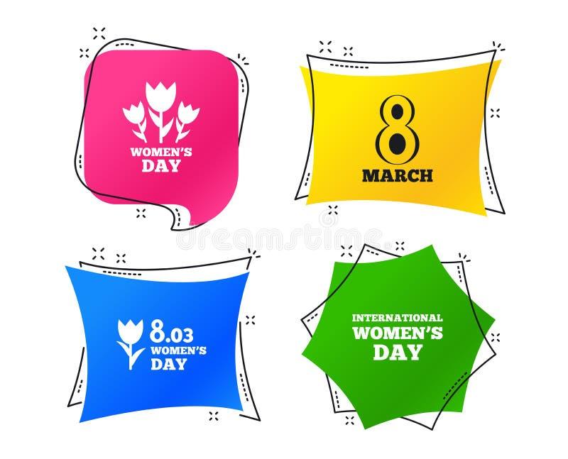 8 marzo icone di giorno del ` s delle donne Mazzo dei fiori Vettore illustrazione di stock