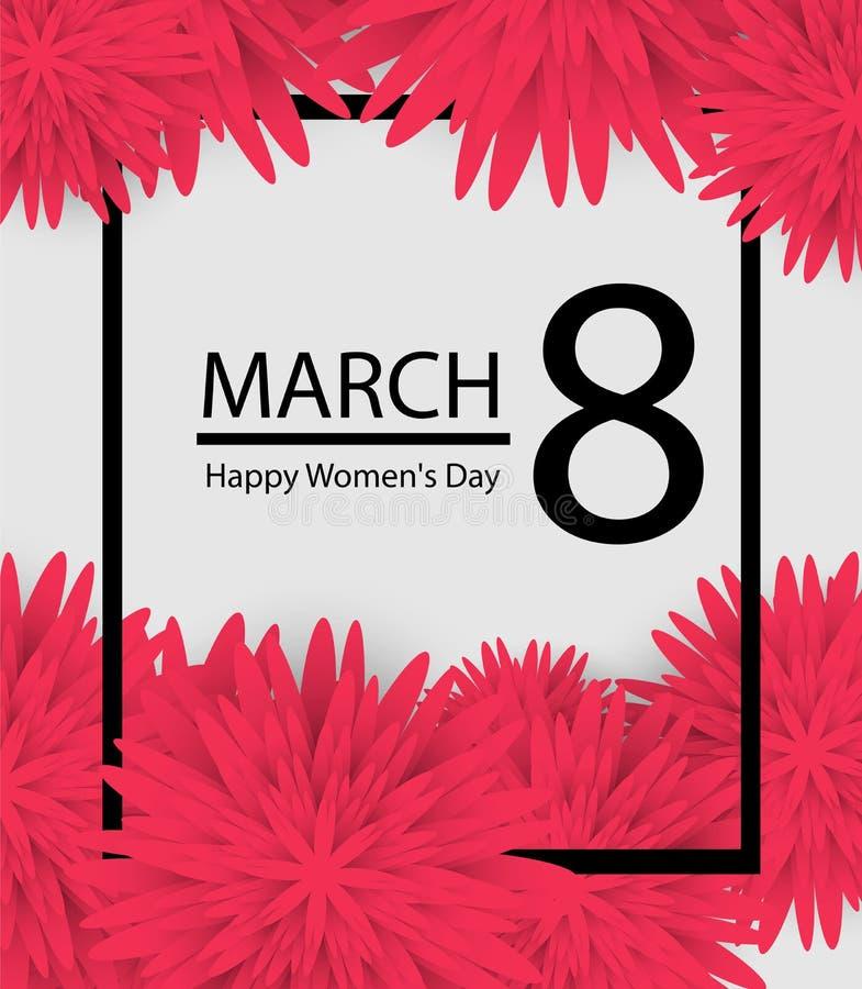 8 marzo il fondo di festa con carta ha tagliato i fiori della pagina Giorno felice del `s della madre Modello d'avanguardia di di illustrazione di stock