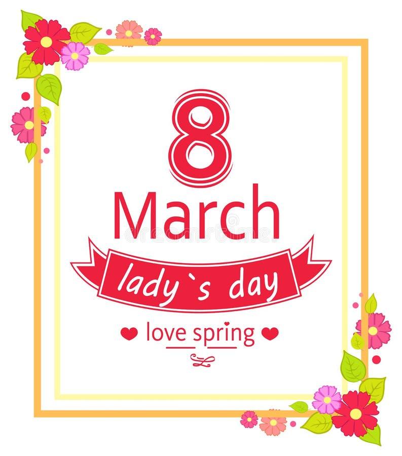 8 marzo illustrazione di vettore del cartello del giorno delle donne illustrazione di stock