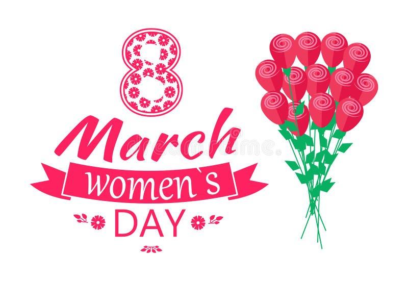 8 marzo illustrazione di vettore della primavera di amore di giorno di Ladys royalty illustrazione gratis