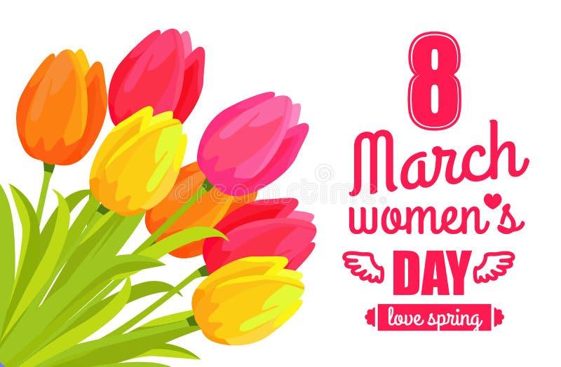 8 marzo illustrazione di vettore della primavera di amore di giorno di Ladys illustrazione di stock