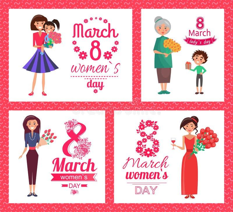 8 marzo illustrazione di vettore della raccolta del giorno delle donne illustrazione di stock