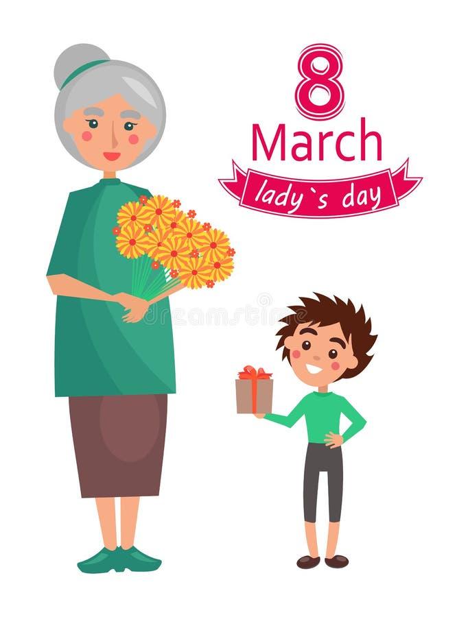 8 marzo manifesto di giorno di Ladys, illustrazione di vettore royalty illustrazione gratis