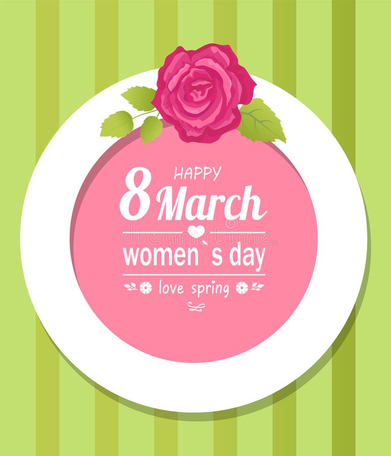 8 marzo pagina decorativa Rosa della primavera dell'amore delle donne illustrazione di stock