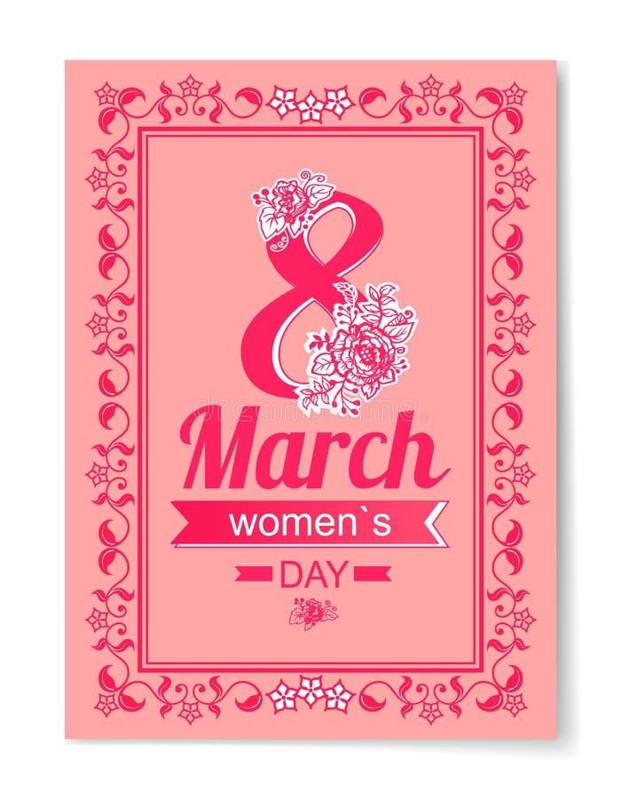 8 marzo pagina di Swirly della cartolina di augurio del giorno delle donne royalty illustrazione gratis