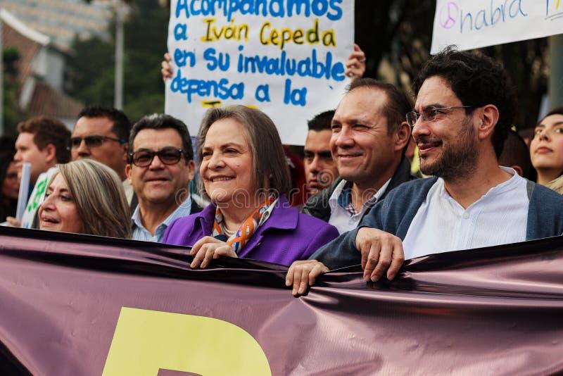 18 marzo 2019 - marzo per la difesa del PEC, giurisdizione speciale per il ¡ Colombia di Bogotà di pace fotografie stock libere da diritti