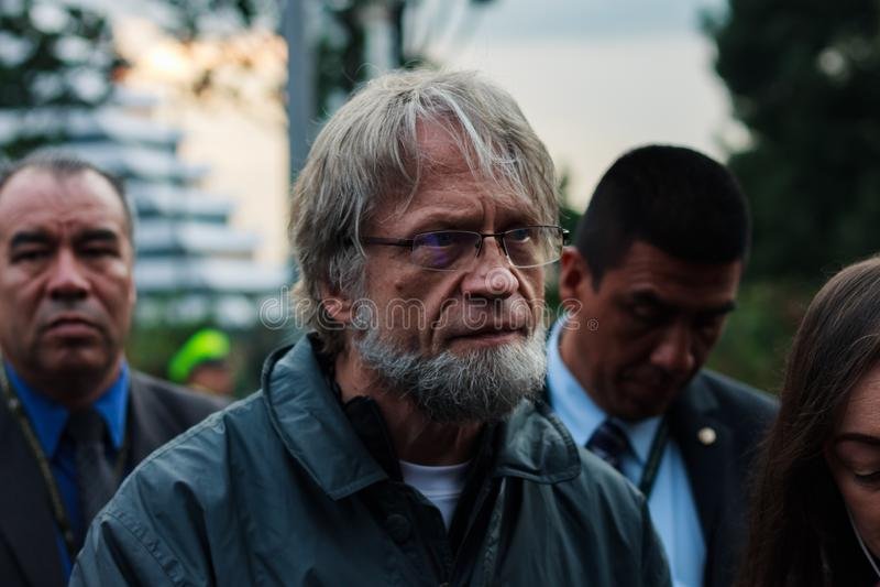 18 marzo 2019 - marzo per la difesa del PEC, giurisdizione speciale per il ¡ Colombia di Bogotà di pace immagine stock libera da diritti
